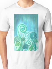 Soft Pastel Blue Curly Zentangle  Unisex T-Shirt