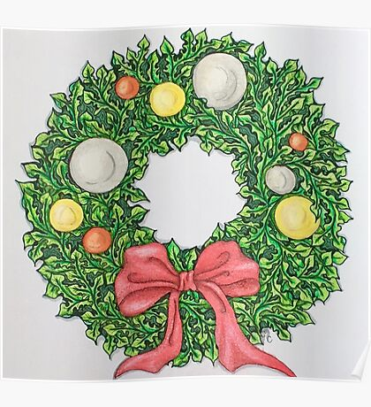 Red Ribbon Wreath Poster