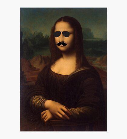 Mona Lisa Sunglasses and Moustache Design Photographic Print