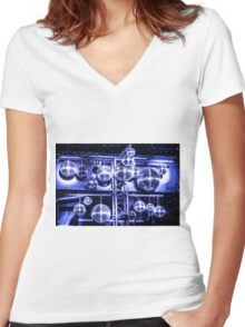 Shiny Disco Balls Women's Fitted V-Neck T-Shirt