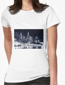 White Night Melbourne Womens Fitted T-Shirt