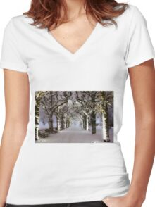 Narnia Corridor Women's Fitted V-Neck T-Shirt