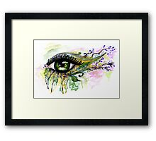 Green Eye with floral Framed Print