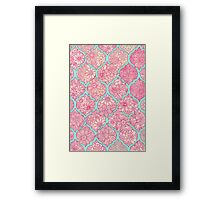 Moroccan Floral Lattice Arrangement - pink Framed Print