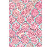 Moroccan Floral Lattice Arrangement - pink Photographic Print