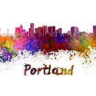 Portland skyline in watercolor by paulrommer