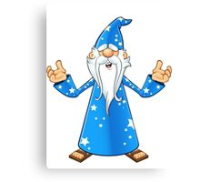 Blue Old Wizard Looking Confused Canvas Print