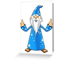 Blue Old Wizard Looking Confused Greeting Card