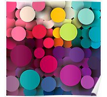 Colorful abstract geometric background with a mosaic effect with different diameter circles Poster