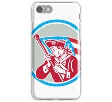 American Patriot Soldier Waving Flag Circle iPhone Case/Skin
