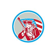 American Patriot Soldier Waving Flag Circle Photographic Print