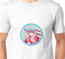 American Patriot Soldier Waving Flag Circle Unisex T-Shirt