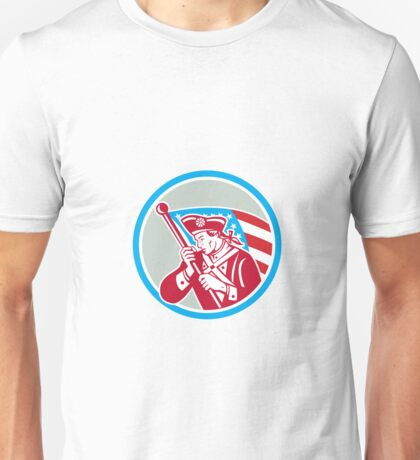American Patriot Soldier Waving Flag Circle Unisex T-Shirt