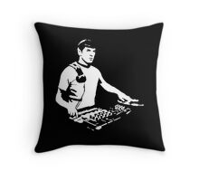 DJ Spock mixing on the decks (star trek) Throw Pillow