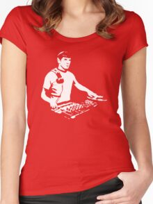 DJ Spock mixing on the decks (star trek) Women's Fitted Scoop T-Shirt