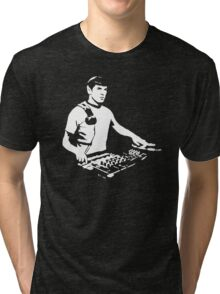 DJ Spock mixing on the decks (star trek) Tri-blend T-Shirt