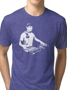 DJ Spock mixing on the decks (star trek) Tri-blend T-Shirt
