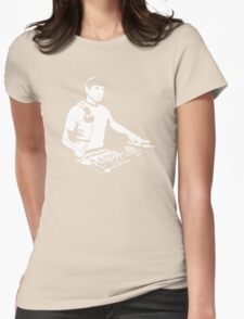 DJ Spock mixing on the decks (star trek) Womens Fitted T-Shirt