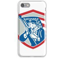 American Patriot Soldier Waving Flag Shield iPhone Case/Skin
