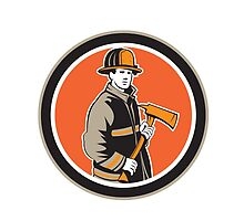 Fireman Firefighter Holding Fire Axe Circle by patrimonio