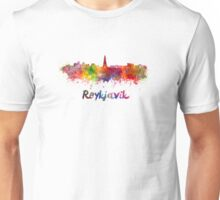 Reykjavik skyline in watercolor Unisex T-Shirt