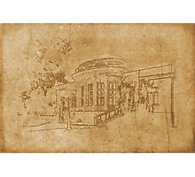 Vintage drawing of building Photographic Print