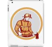 Fireman Firefighter Holding Fire Axe Circle iPad Case/Skin