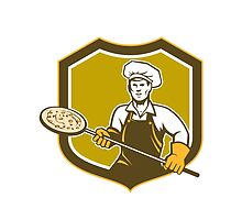 Pizza Maker Holding Peel Shield Retro by patrimonio