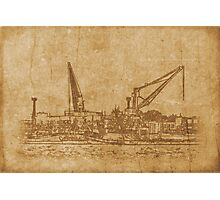 Vintage drawing of sea port Photographic Print