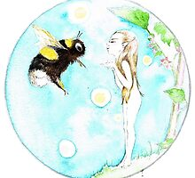 Bumble-bee faerie blowing kisses by Stardusted
