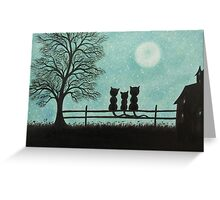 Cats Family on Fence with Moon and Stars Greeting Card