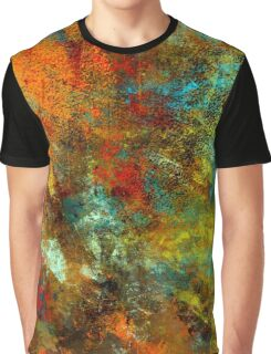 Bold Abstract Design, Copper, Gold, Aqua, Red Graphic T-Shirt
