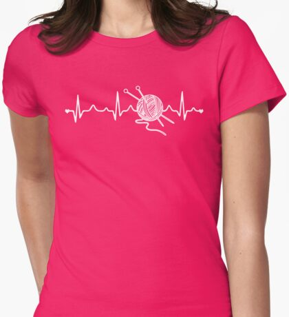 Knitting Heartbeat Womens Fitted T-Shirt