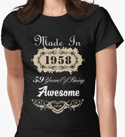 Made in 1958 59 years of being awesome Womens Fitted T-Shirt