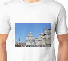 8 August 2016 The Piazza dei Miracoli, Piazza del Duomo, is located in the city of Pisa, Toscany, Italy. This is the view showing the cathedral and the baptistry. Unisex T-Shirt