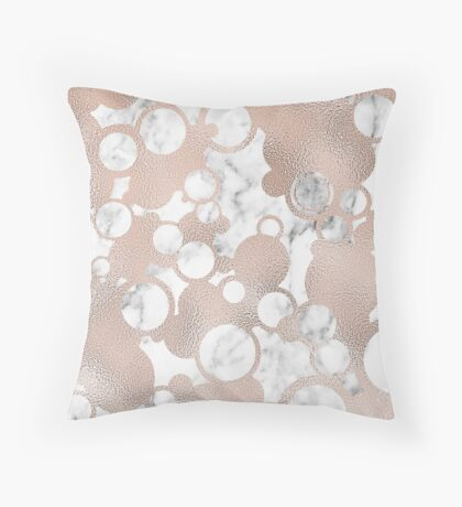 Rose gold bubbles on marble Throw Pillow
