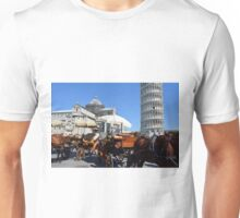 8 August 2016 Turists in Piazza dei Miracoli (Piazza del Duomo) is located in the city of Pisa, Toscany, Italy. Photography of the famous leaning tower of Pisa and the baptistry. Unisex T-Shirt