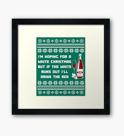 Red Christmas Funny Wine Drinking Party Dinner  Framed Print