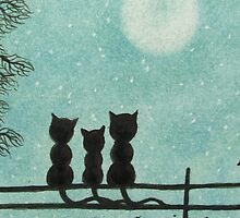 Cats Family on Fence with Moon and Stars by Claudine Peronne