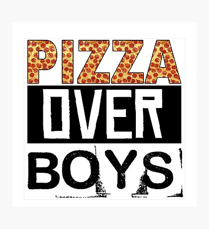 Pizza Over Boys Photographic Print