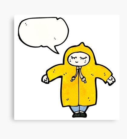cartoon person in raincoat Canvas Print