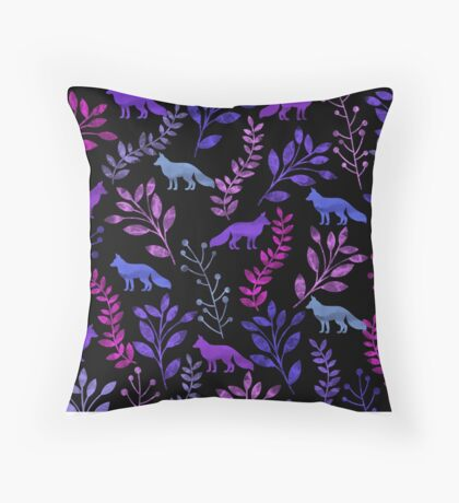 Floral and Fox Throw Pillow