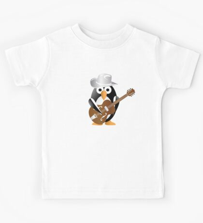 Funny penguin with guitar Kids Tee