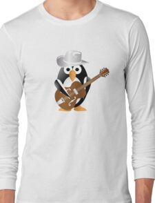 Funny penguin with guitar Long Sleeve T-Shirt