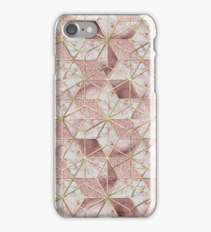 Modern rose gold geometric star flower pattern  iPhone Case/Skin