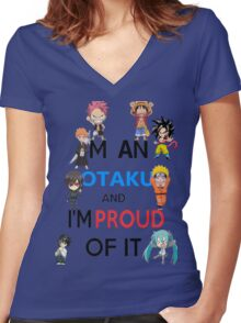 I am an Otaku and I am proud of it Women's Fitted V-Neck T-Shirt