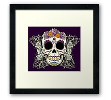 Vintage Skull and Flowers Framed Print