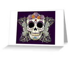 Vintage Skull and Flowers Greeting Card