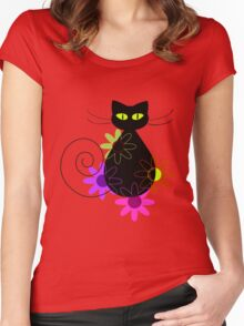 Black cat among flowers Women's Fitted Scoop T-Shirt