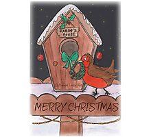 Robin Decorating for Christmas Photographic Print
